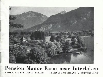 Prospekt der Pension MANOR FARM, um 1938